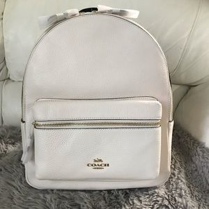 NEW Coach White Leather Backpack